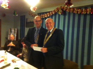 Presentation of cheque to National President Jim